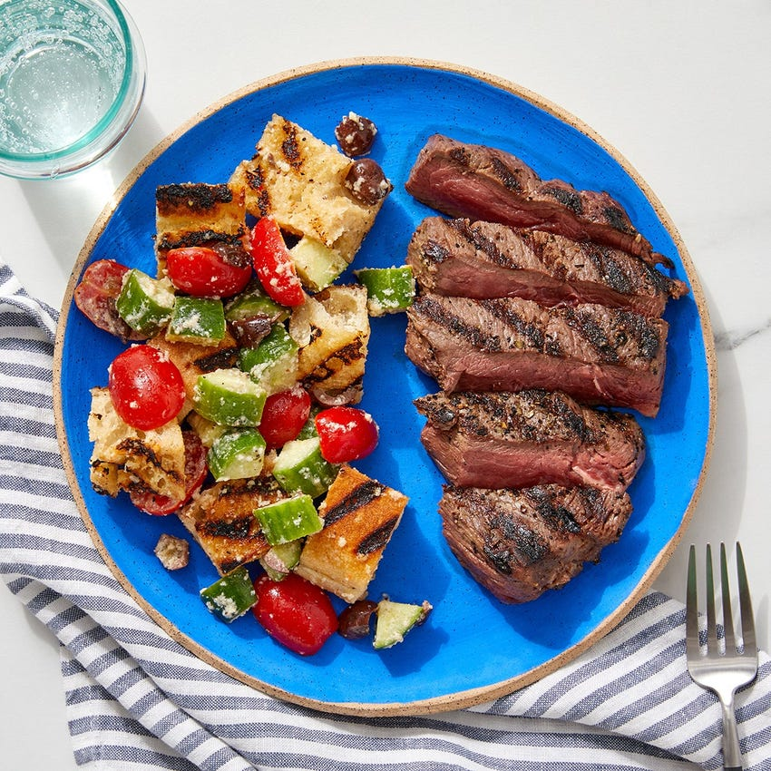 Grilled Steaks & Panzanella with Olives & Parmesan