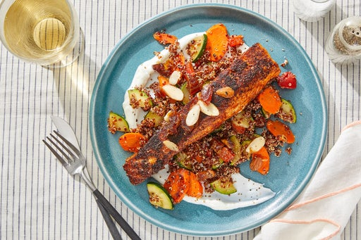 Spanish-Spiced Salmon & Veggie Quinoa with Almond-Date Topping