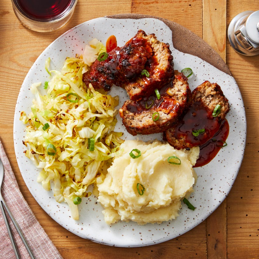 Soy-Glazed Pork Meatloaf with Miso Mashed Potatoes & Sautéed Cabbage
