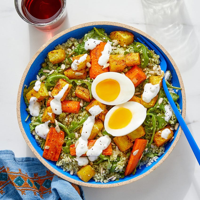 Shawarma-Spiced Vegetable & Couscous Bowls with Arugula & Roasted Lemon Yogurt