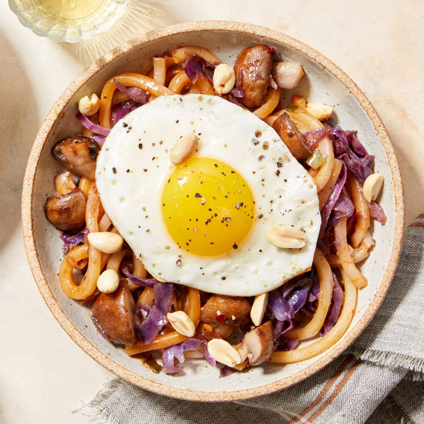 Mushroom & Cabbage Udon Noodle Stir-Fry with a Fried Egg