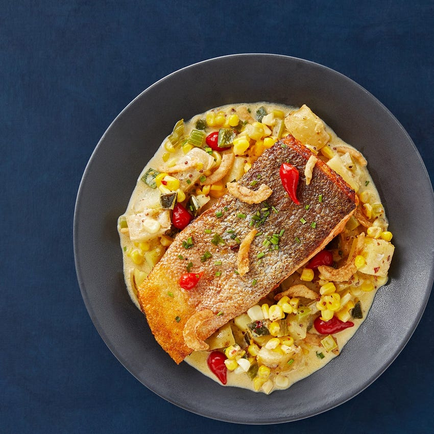 Crispy Skin Trout Fillets with Creamy Chowder-Style Potatoes & Corn