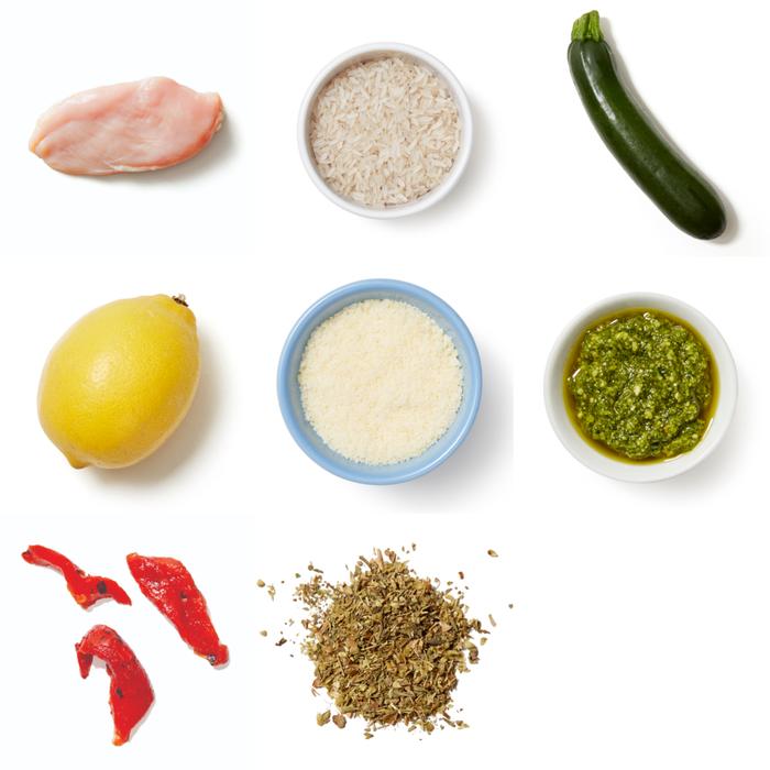 Italian Chicken & Zucchini with Pesto-Pepper Rice