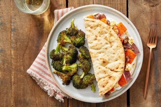 Greek-Style Veggie Pitas with Tzatziki & Lemon-Dressed Broccoli