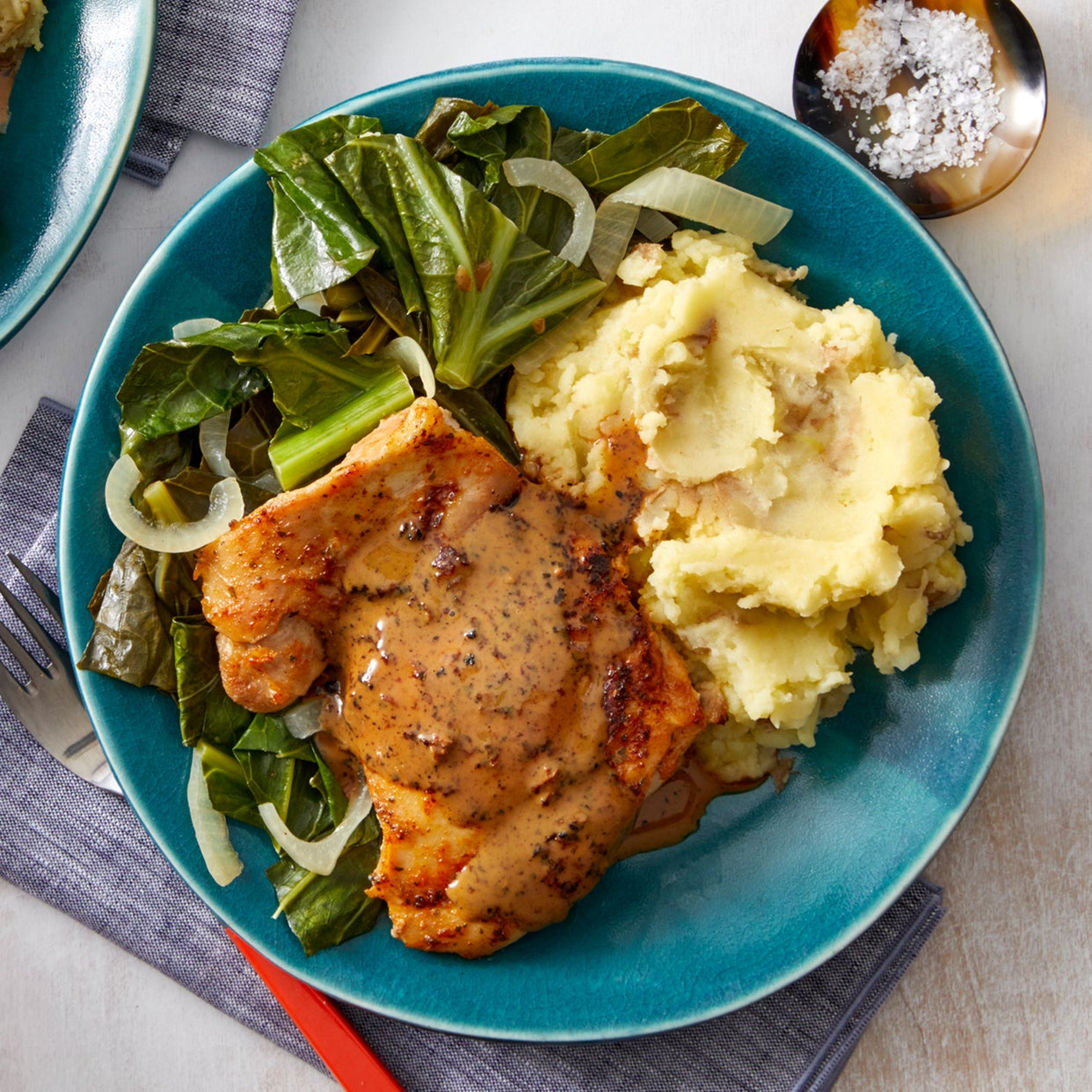 Spice-Rubbed Chicken Thighs with Maple Pan Sauce & Garlic Mashed Potatoes