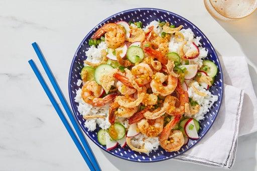 Honey-Ginger Shrimp with Spicy Marinated Cucumber & Radishes