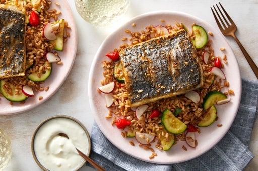 Za'atar-Spiced Barramundi with Farro-Zucchini Salad & Pink Lemon Yogurt Sauce