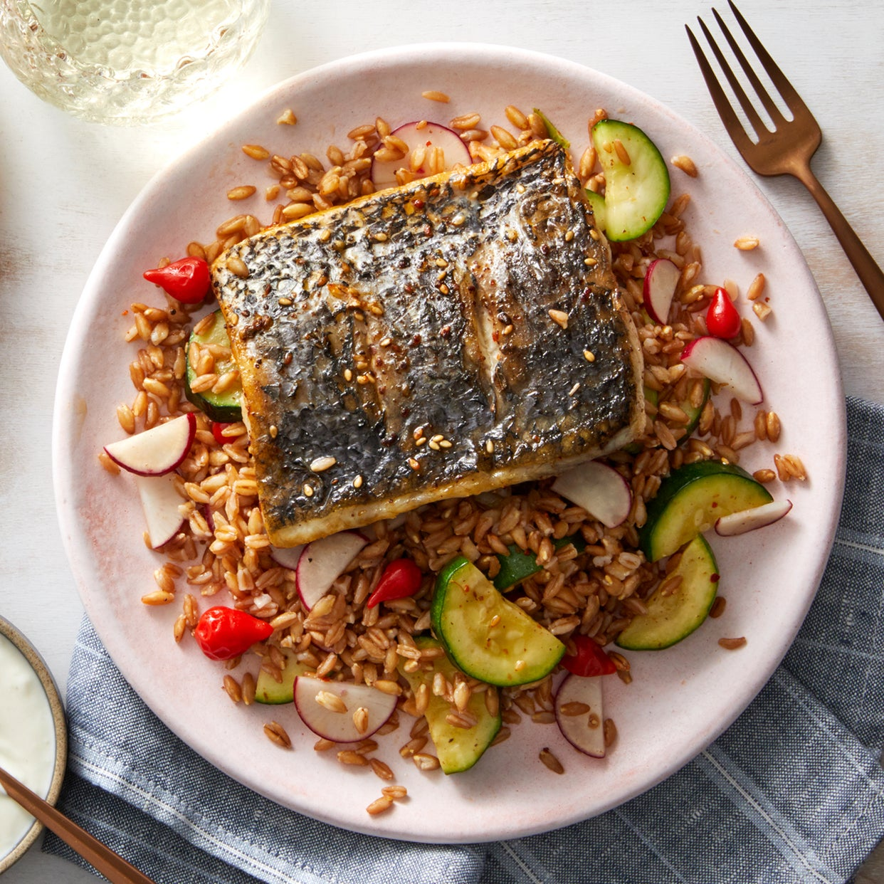 Za'atar-Spiced Barramundi with Farro-Zucchini Salad & Pink Lemon Yogurt Sauce
