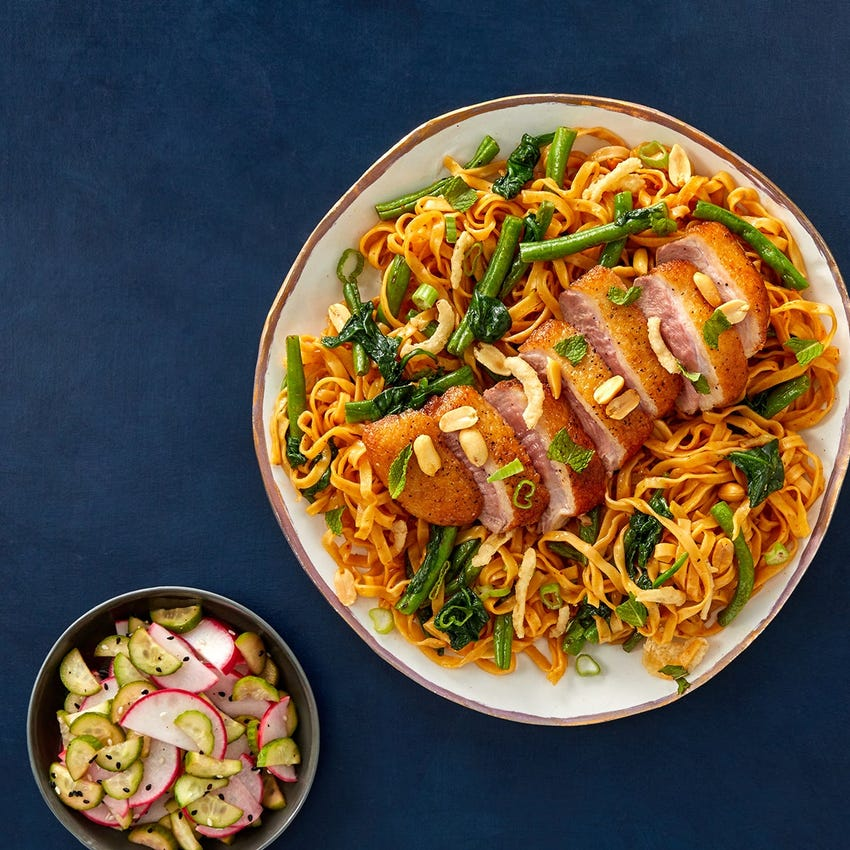 Crispy Duck Breasts & Wonton Noodles with Green Beans & Curry-Soy Sauce