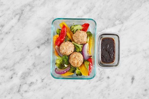 Assemble & Store the Hoisin-Sesame Meatballs
