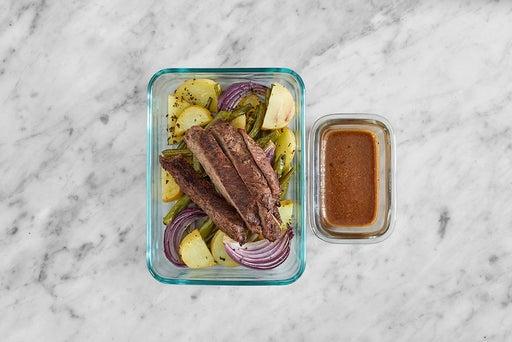Assemble & Store the Balsamic-Dijon Steak