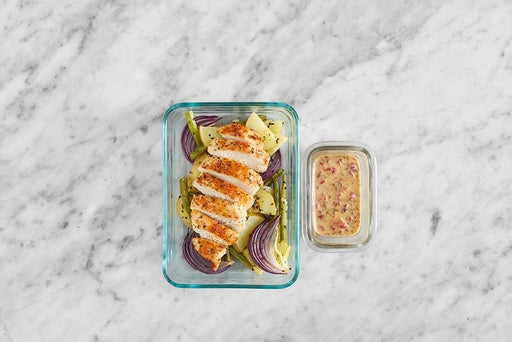 Assemble & Store the Chicken & Red Pepper Dressing