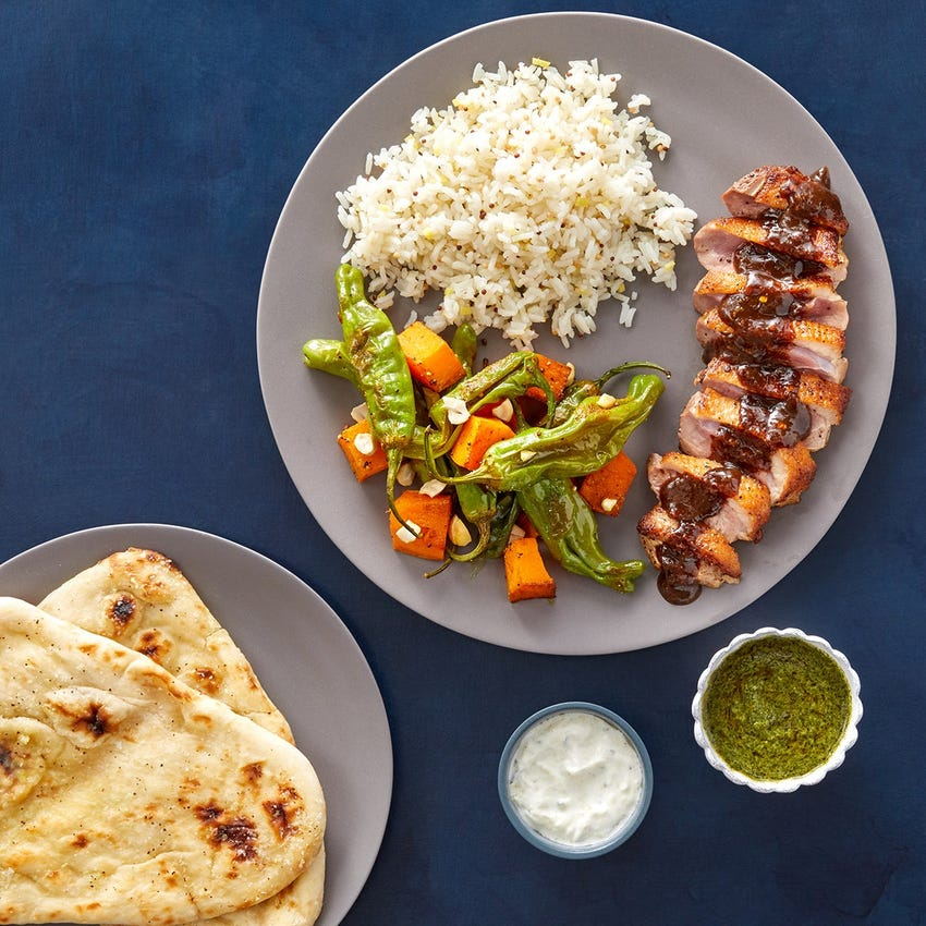 Tamarind-Mango Duck Breasts with Garlic Naan, Ginger Rice & Curry-Roasted Vegetables
