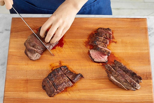 Cook & slice the steaks