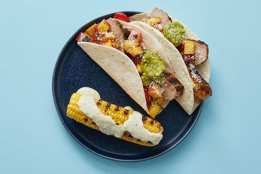 Finish & serve the Pork & Peach Salsa Tacos