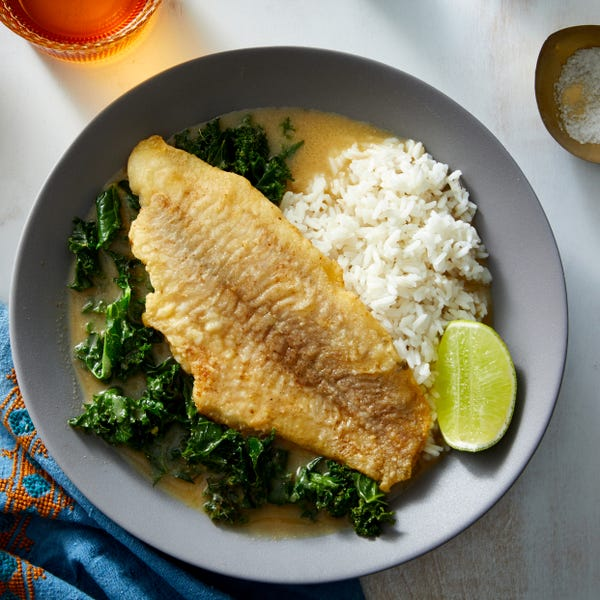 Crispy Catfish with Coconut-Lime Curry & Kale