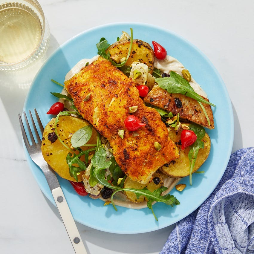Shawarma-Spiced Cod & Arugula Salad with Roasted Potatoes & Kohlrabi