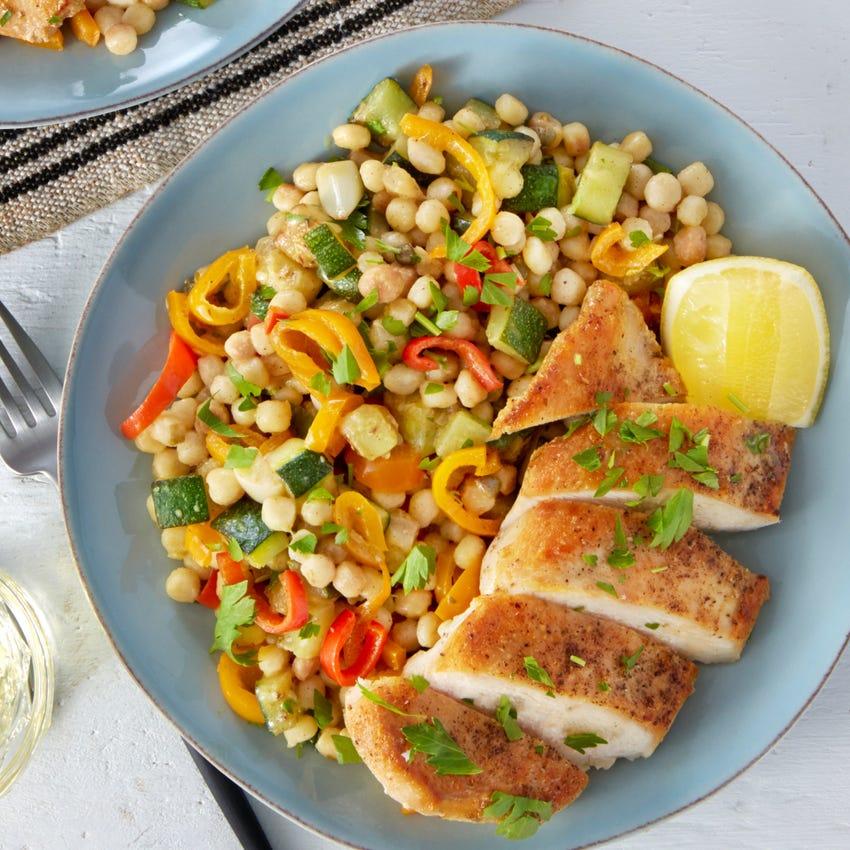 Seared Chicken & Lemon-Butter Sauce with Veggies & Fregola Sarda Pasta