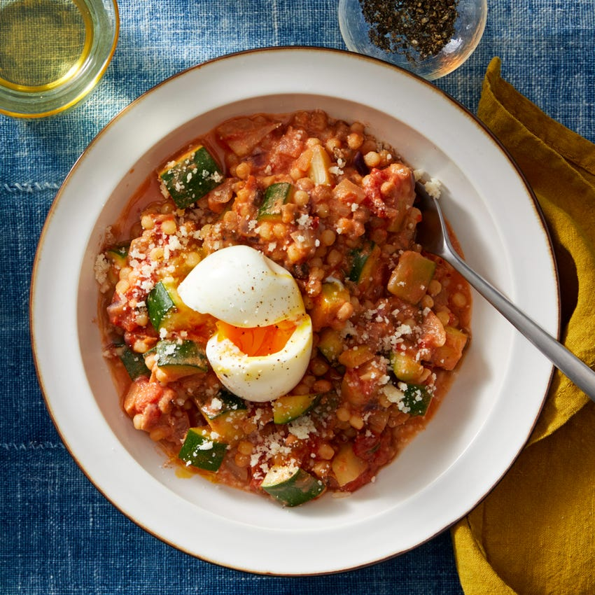Fregola Sarda Pasta in Zesty Tomato Sauce with Fennel & Goat Cheese