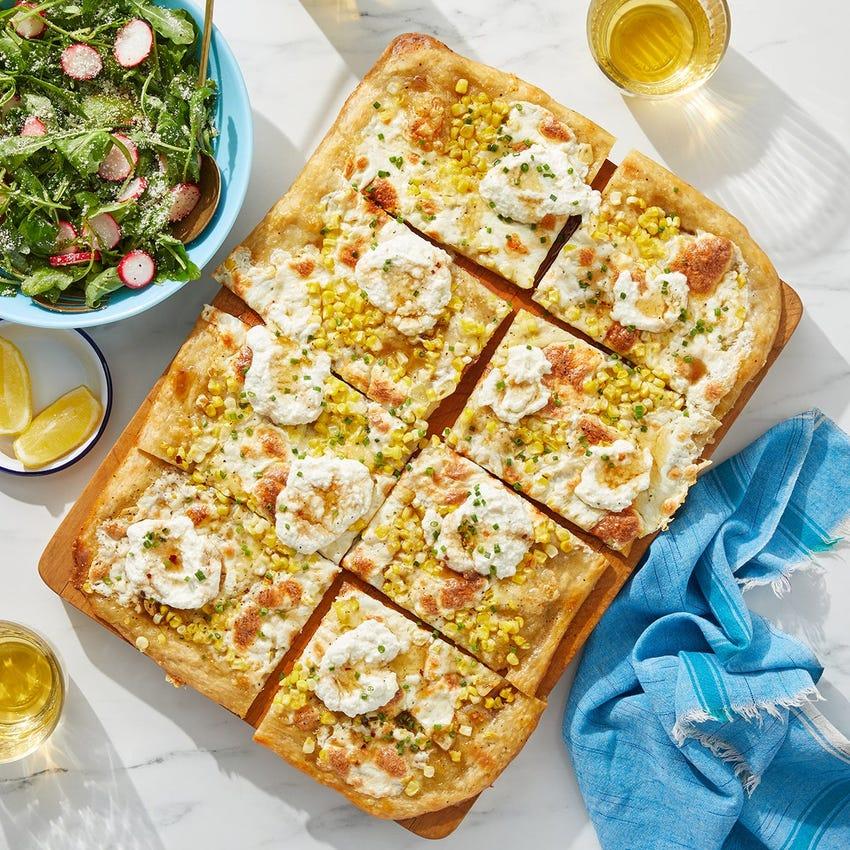 Hot Truffle Honey Pizza with Sweet Corn & Ricotta