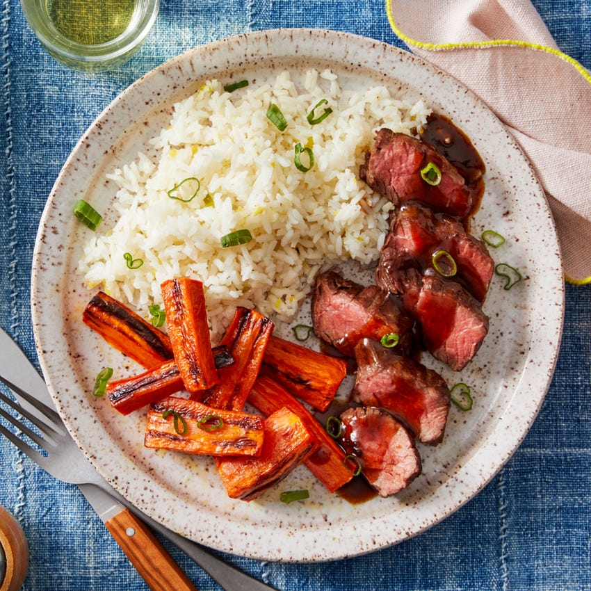 Hoisin & Ponzu Steaks with Roasted Carrots & Garlic-Ginger Rice