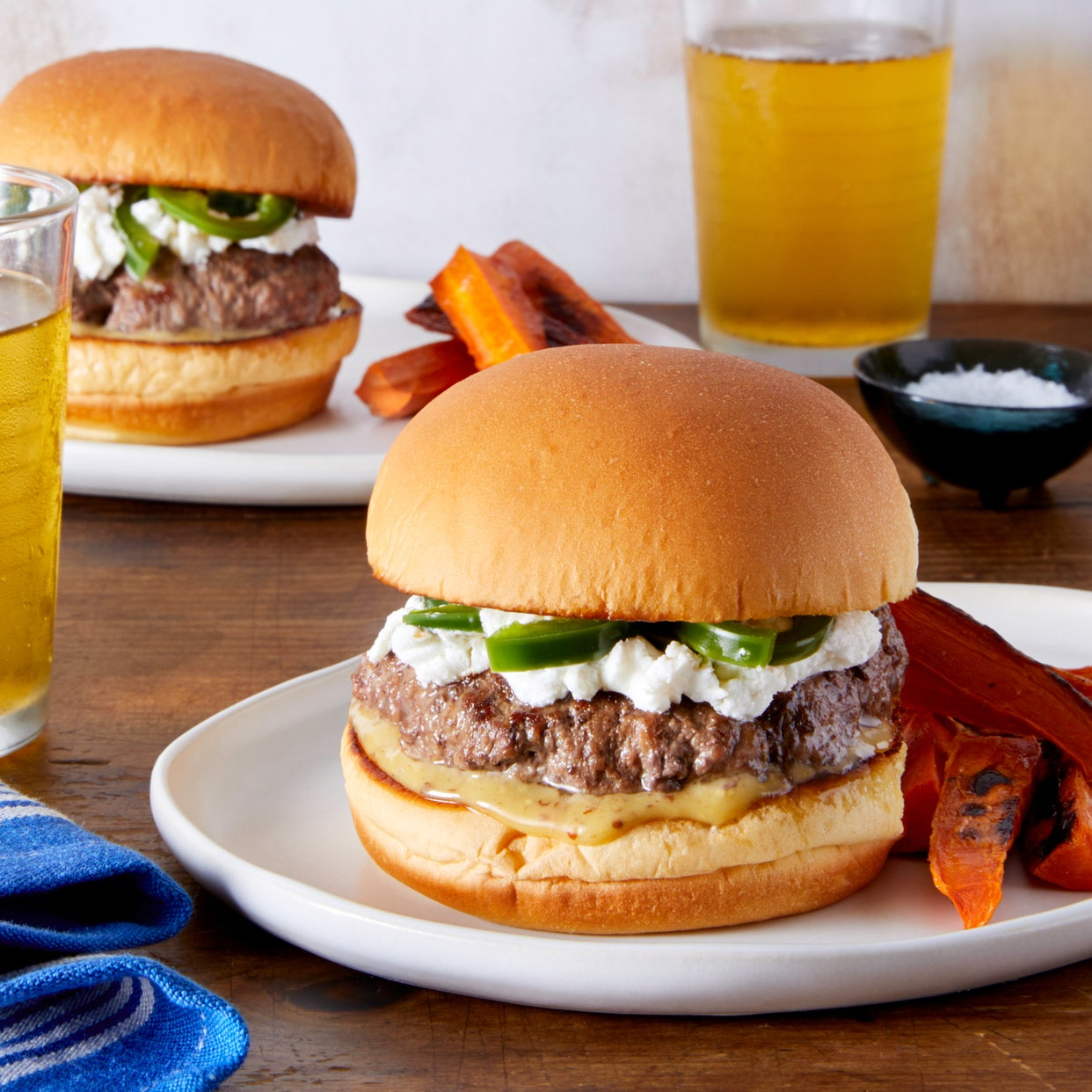 Jalapeño Cheeseburgers with Carrot Fries