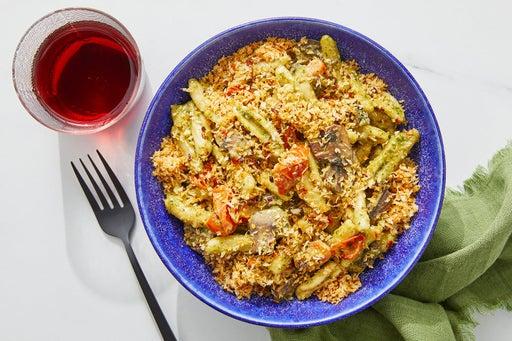 Creamy Pesto Cavatelli with Mushrooms & Spicy Breadcrumbs