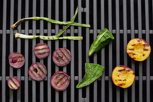 Grill the peach & vegetables