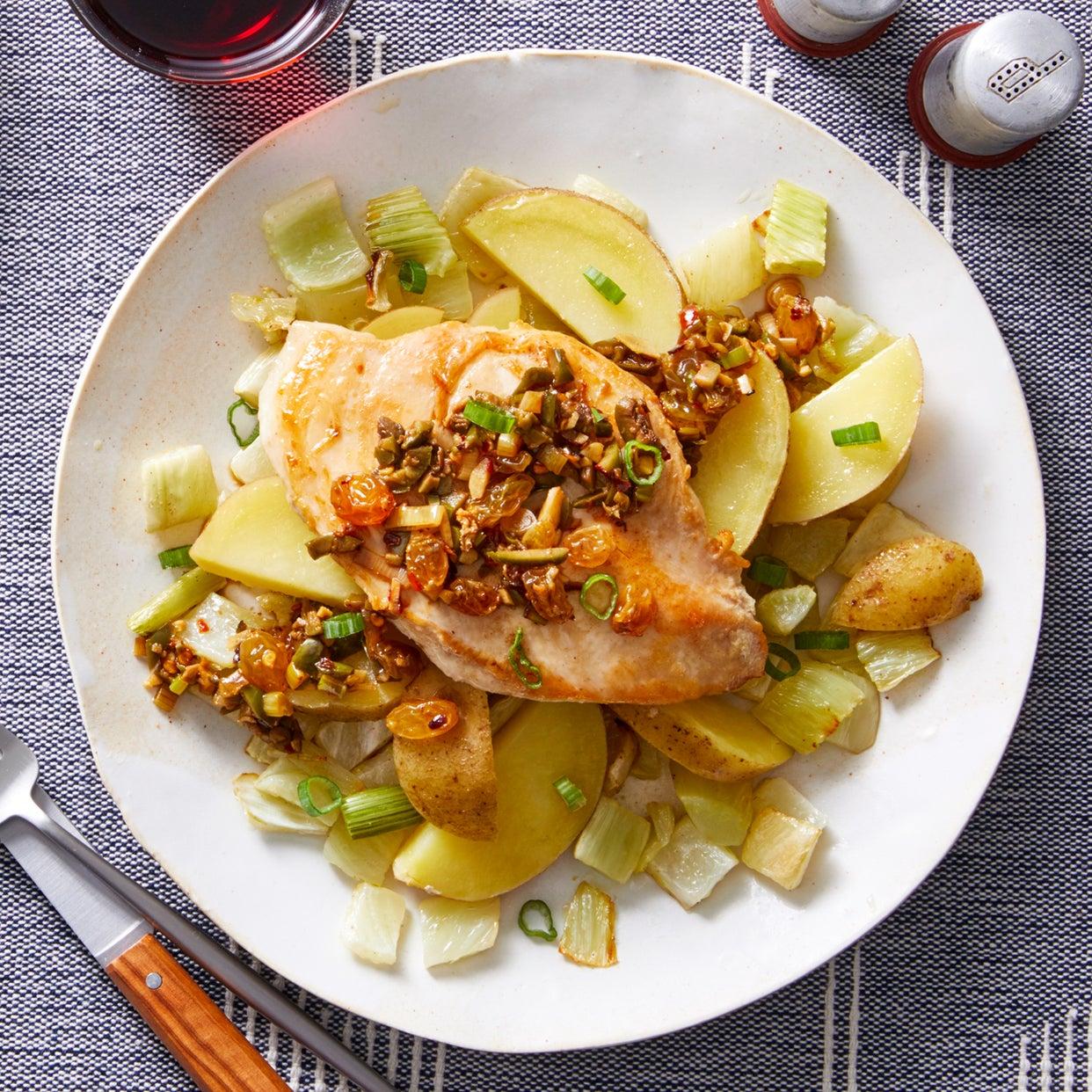 Chicken Paillard & Olive-Raisin Sauce with Warm Fennel & Potato Salad