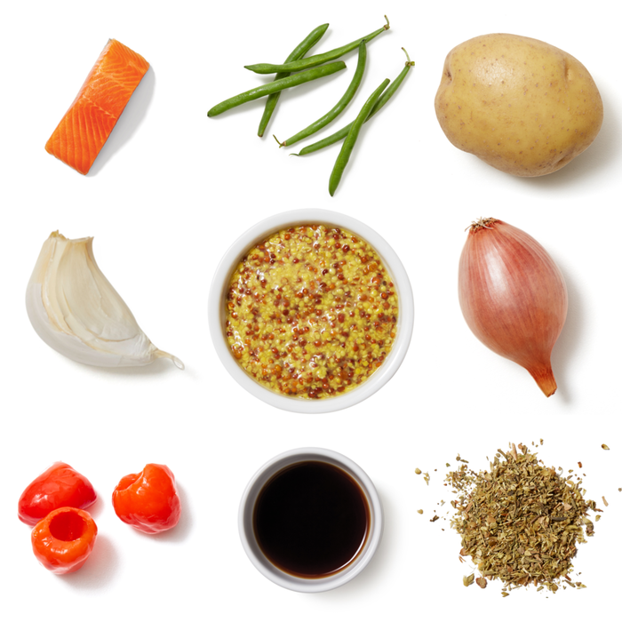 Seared Trout & Onion-Dijon Vinaigrette with Roasted Potatoes & Sautéed Green Beans