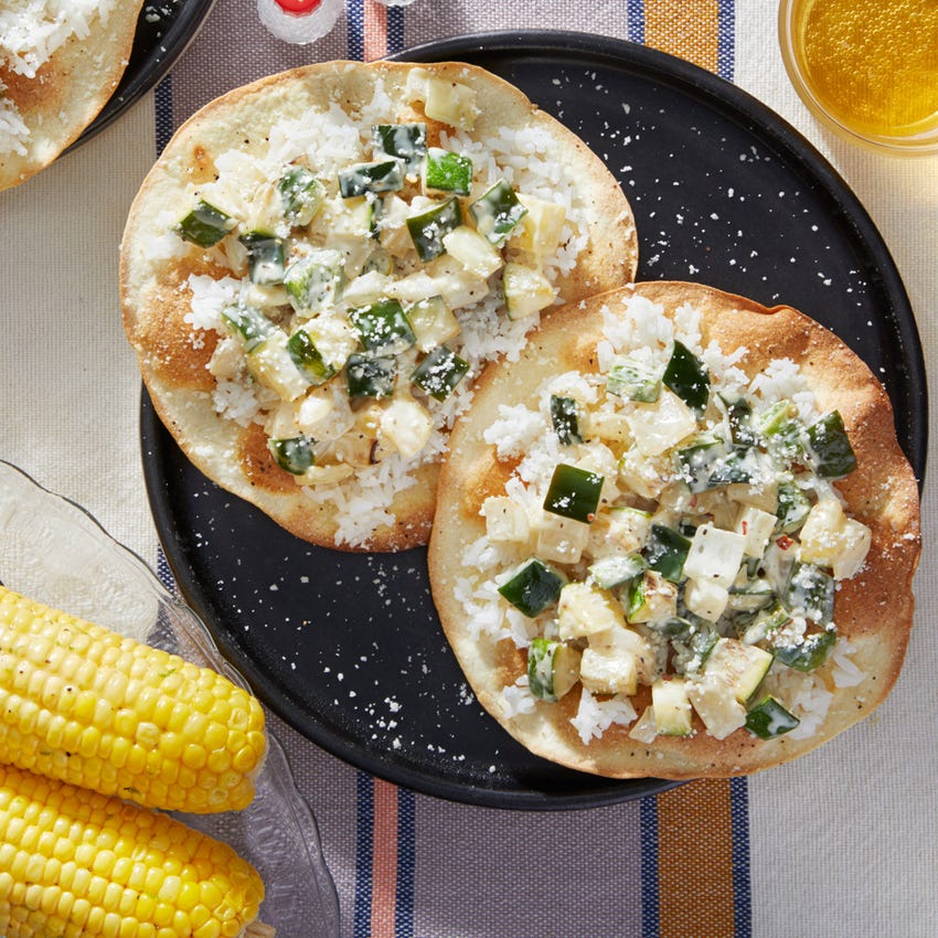 Vegetable Tostadas with Corn on the Cob  & Lime Rice