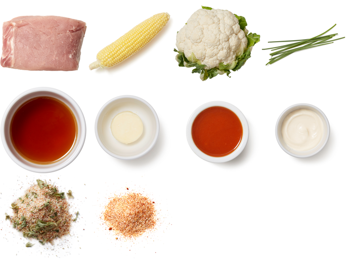 Pork Roast & Buffalo Cauliflower Bites with Honey-Butter Corn