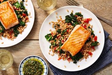 Seared Salmon & Salsa Verde with Sweet Piquante Pepper & Farro Salad
