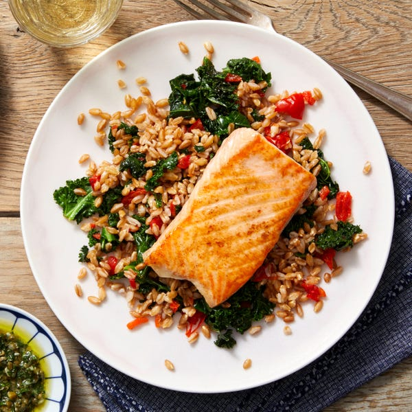 Seared Salmon & Salsa Verde with Sweet Piquante Pepper & Farro Salad