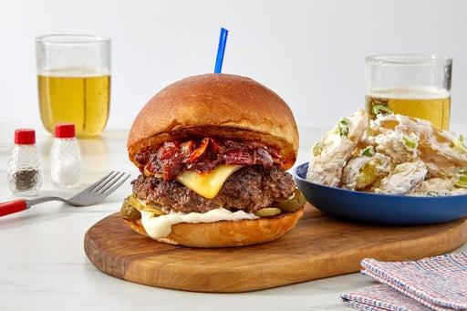 Chipotle Onion & Smoked Gouda Burger with Sour Cream & Scallion Potatoes