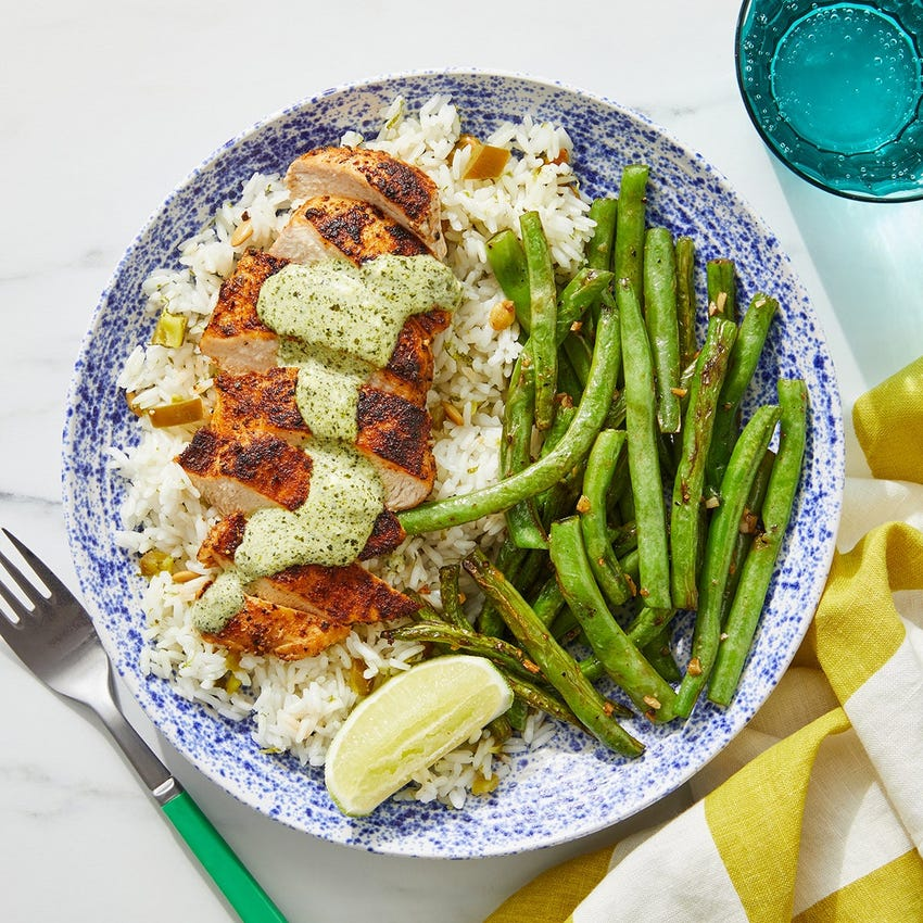 Creamy Cilantro Chicken with Toasted Pepita Rice & Green Beans