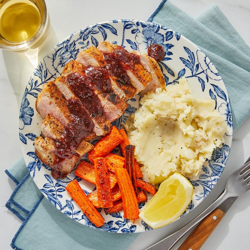 Sour Cherry-Dijon Pork with Mashed Potatoes & Roasted Carrots