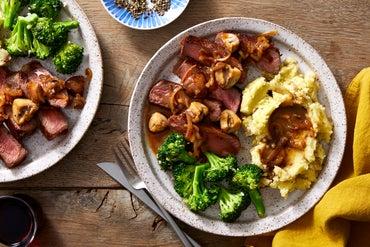 Top Chef Strip Steak & Mushroom Sauce with Mashed Potatoes & Broccoli