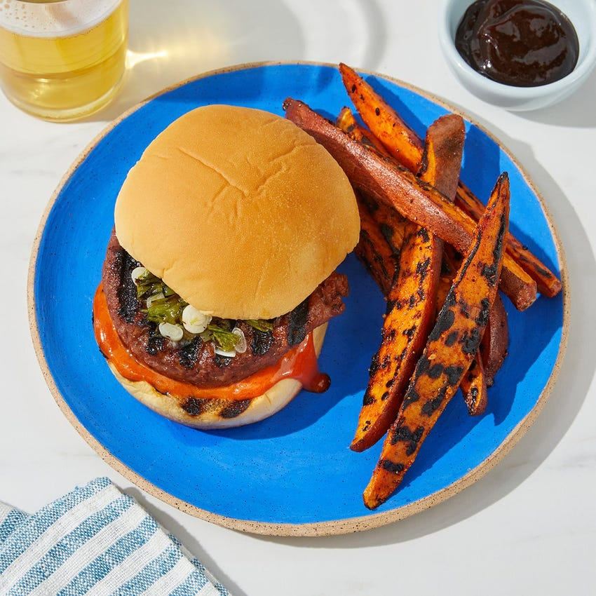 Grilled Gochujang Beyond Burger™ with Scallion Jam & Grilled Sweet Potatoes