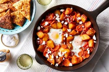 Potato & Pepper Shakshuka with Harissa & Pita Chips