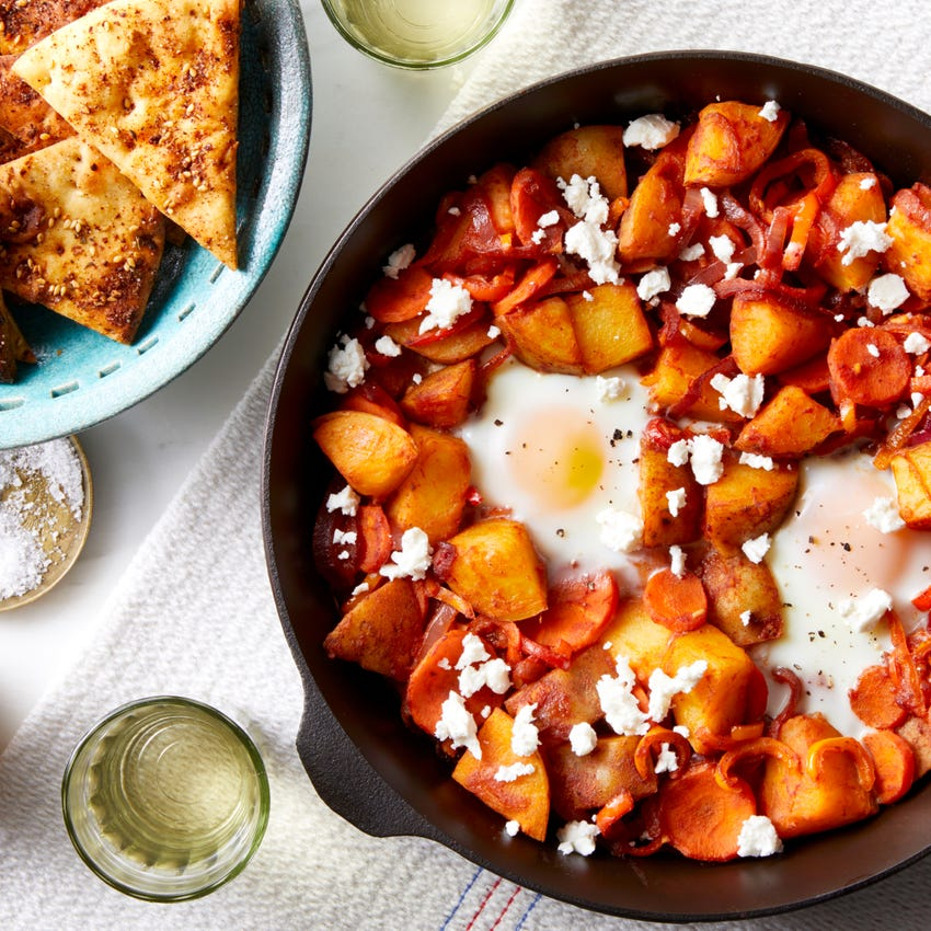 Potato & Pepper Shakshuka with Harissa & Pita Chips