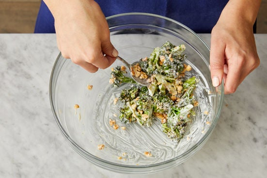 Dress the broccoli & serve your dish: