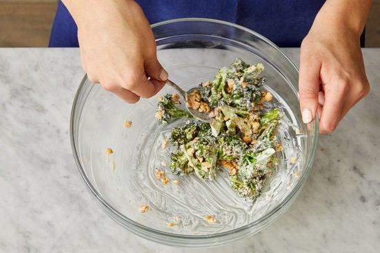 Dress the broccoli & serve your dish: