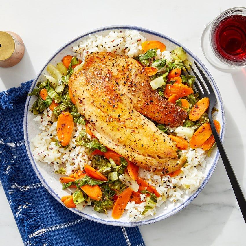 Teriyaki Tilapia with Vegetables & Garlic-Ginger Rice