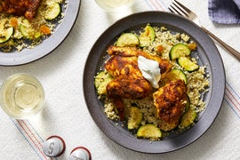Ras El Hanout-Spiced Chicken with Zucchini & Saffron Couscous