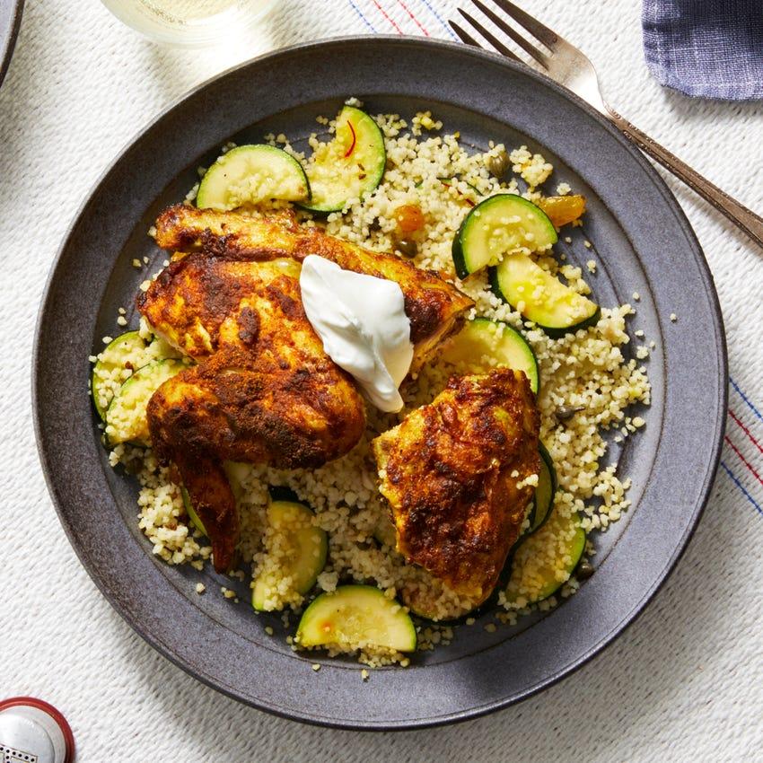 Ras El Hanout-Spiced Chicken with Zucchini & Saffron Couscous