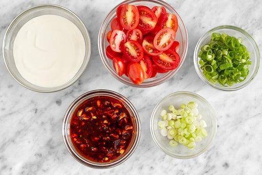 Prepare the ingredients & make the salsa macha