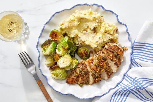 Garlic-Caper Chicken with Parmesan Mashed Potatoes & Brussels Sprouts