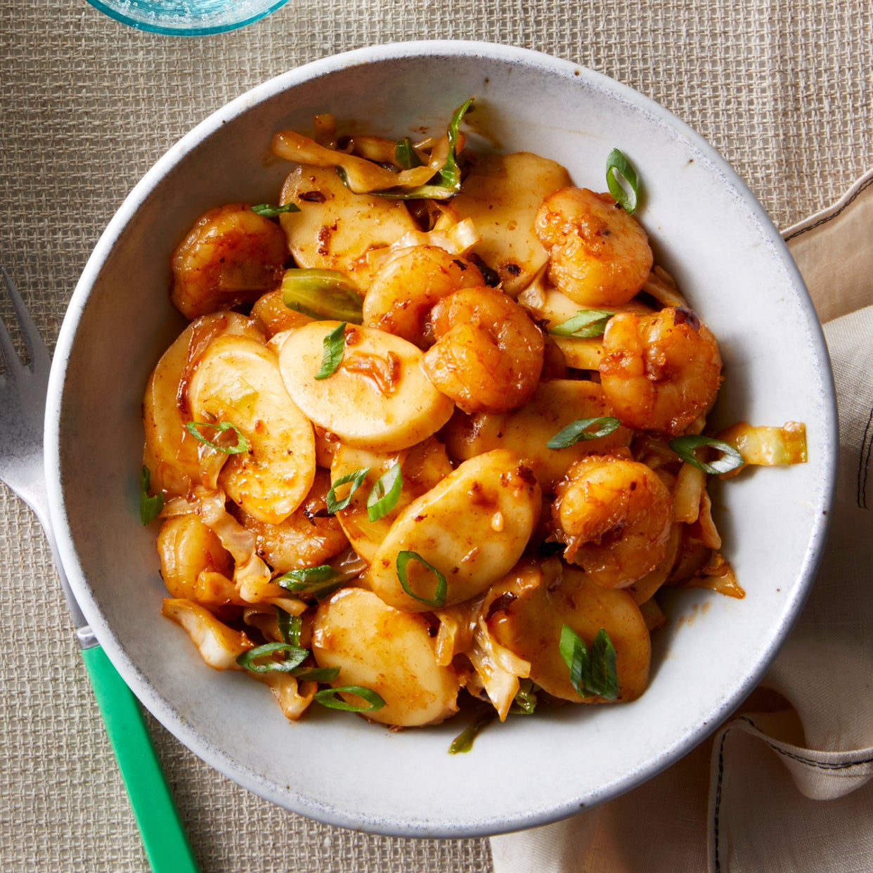 Quick Shrimp & Rice Cakes with Cabbage & Black Bean Sauce