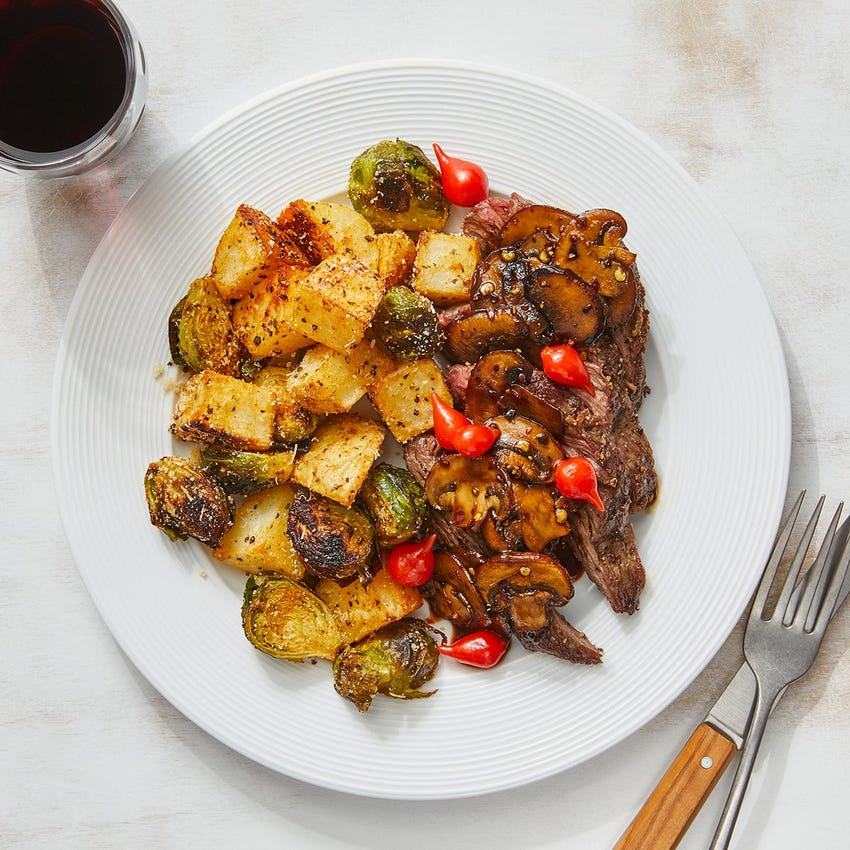 Seared Steaks & Mushroom Agrodolce with Roasted Potatoes & Brussels Sprouts